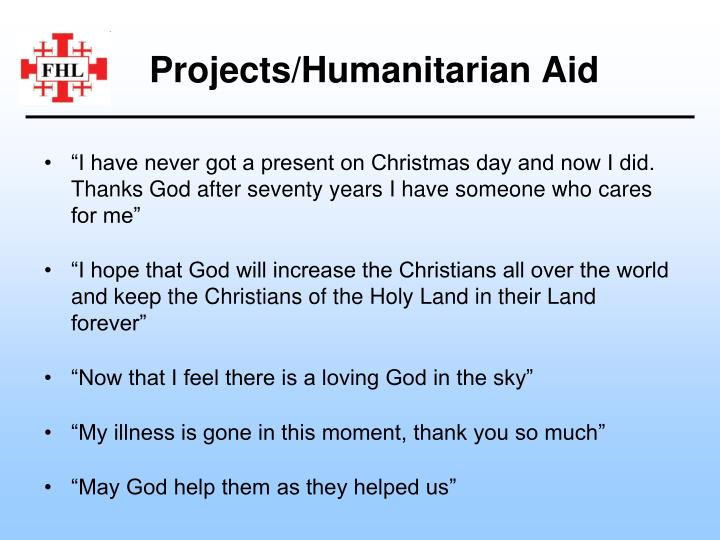 Projects/Humanitarian Aid