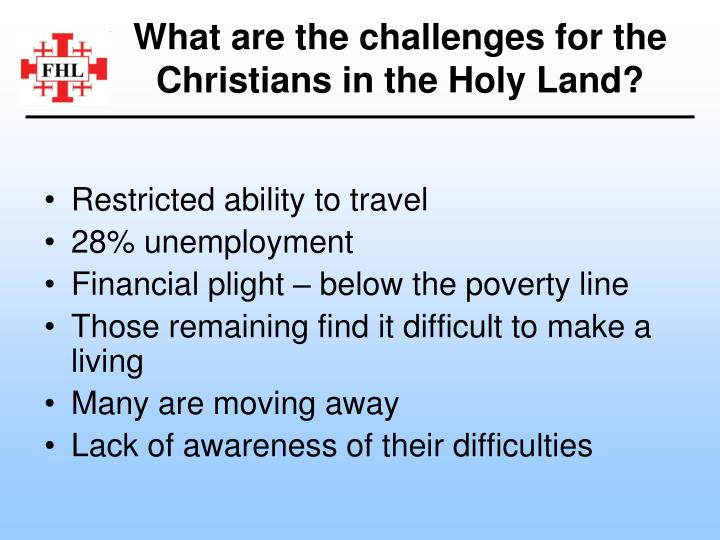 What are the challenges for the Christians in the Holy Land?
