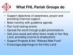 what fhl parish groups do