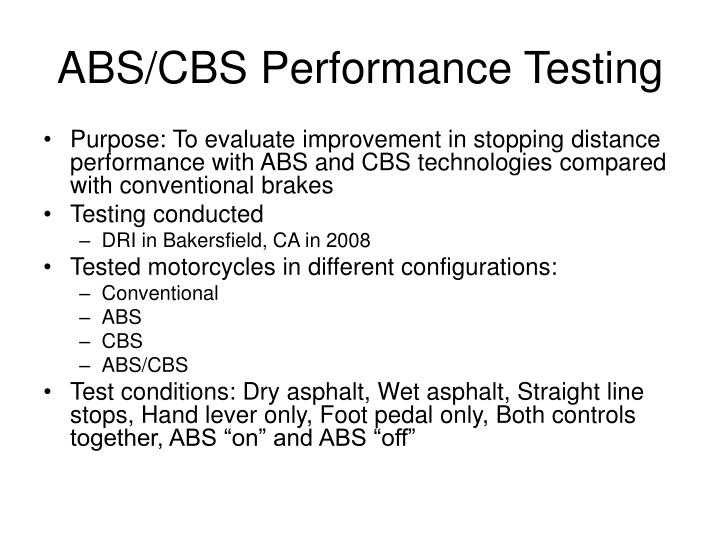 Abs cbs performance testing