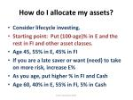 how do i allocate my assets
