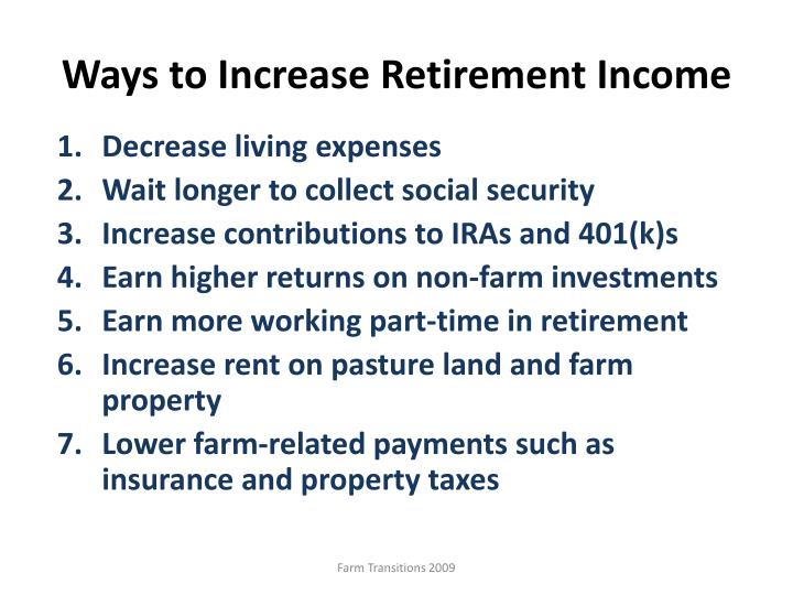 Ways to Increase Retirement Income