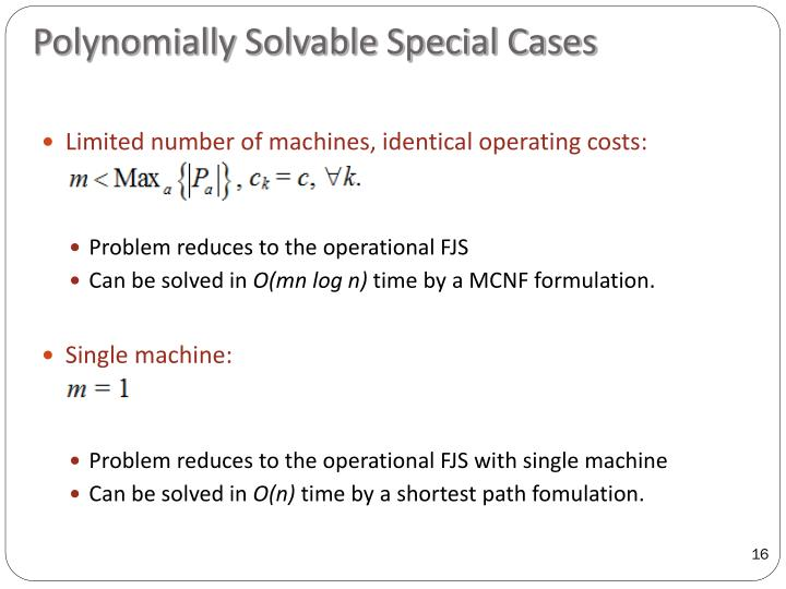Polynomially Solvable Special Cases