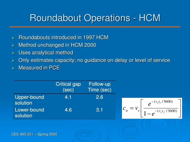 Roundabout Operations - HCM