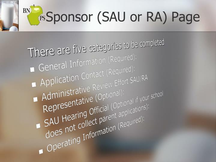 Sponsor (SAU or RA) Page