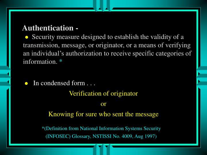Authentication -