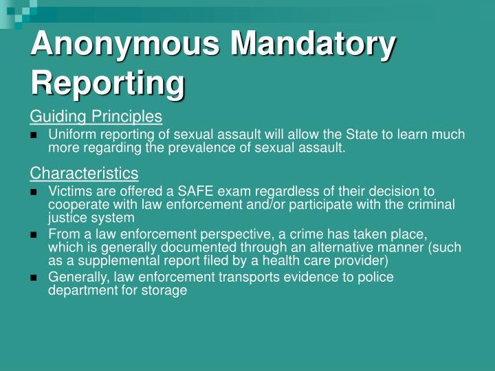Anonymous Mandatory Reporting