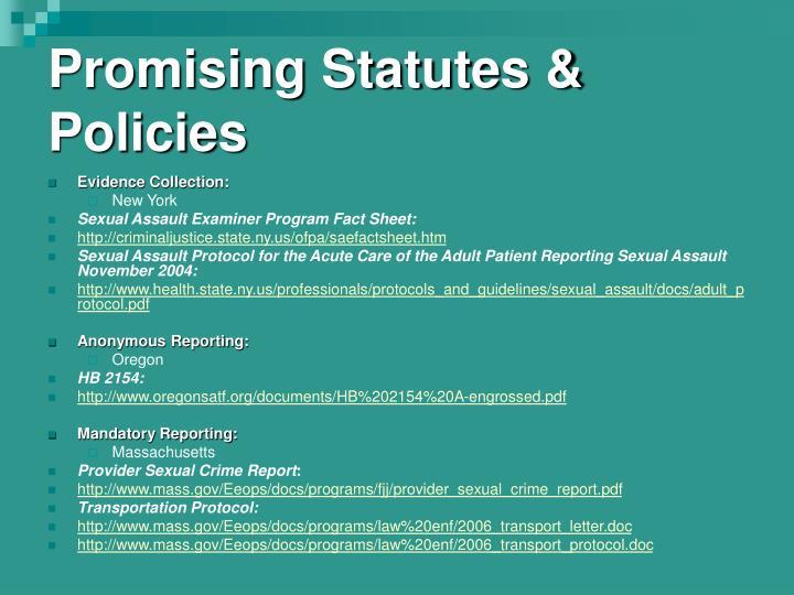 Promising Statutes & Policies