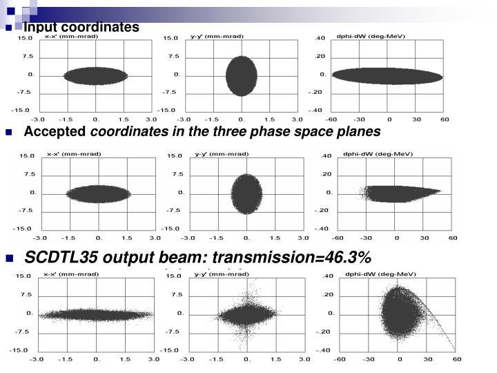 Input coordinates