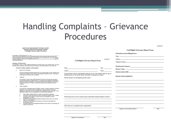 Handling Complaints – Grievance Procedures