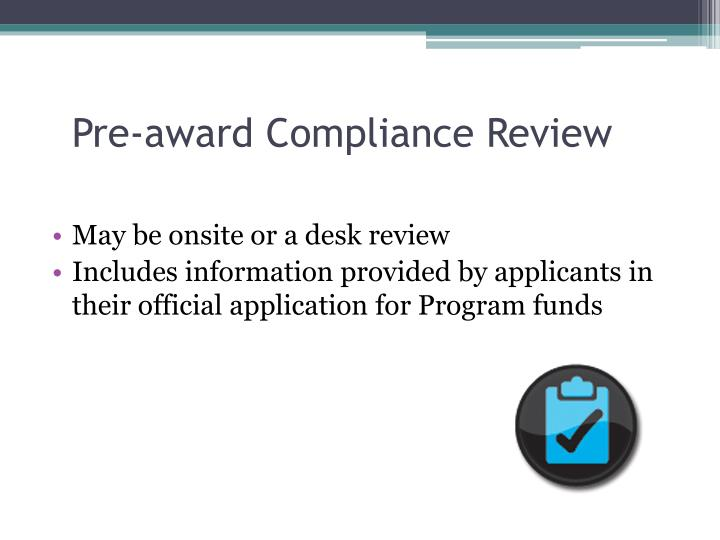 Pre-award Compliance Review