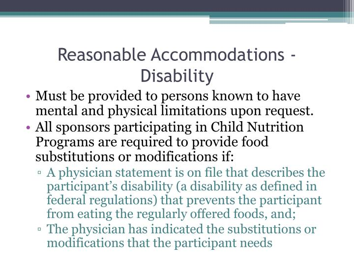 Reasonable Accommodations -Disability
