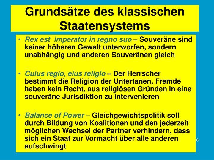 Grundsätze des klassischen Staatensystems