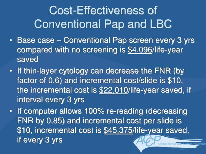 Cost-Effectiveness of Conventional Pap and LBC