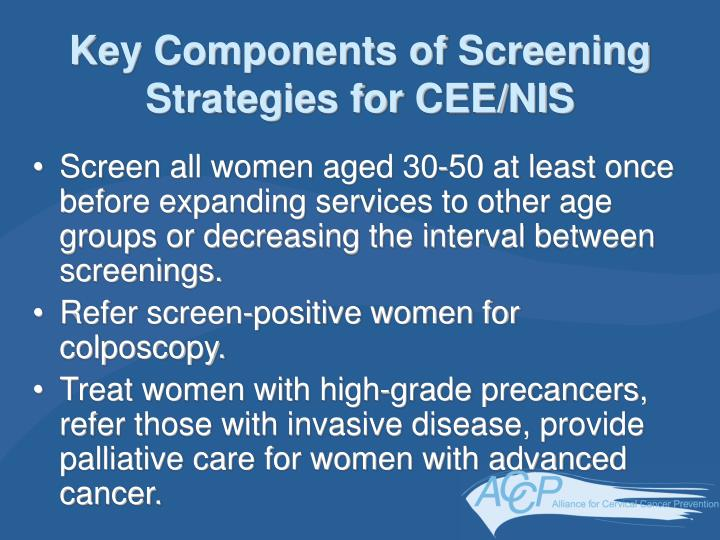 Key Components of Screening Strategies for CEE/NIS