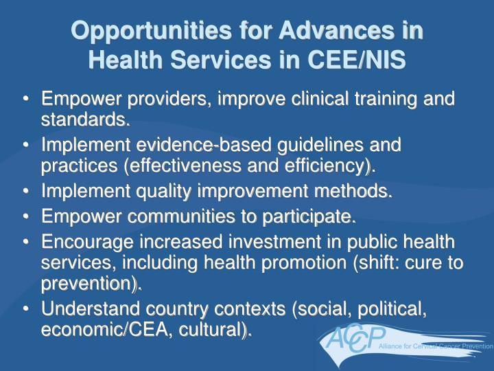 Opportunities for Advances in Health Services in CEE/NIS