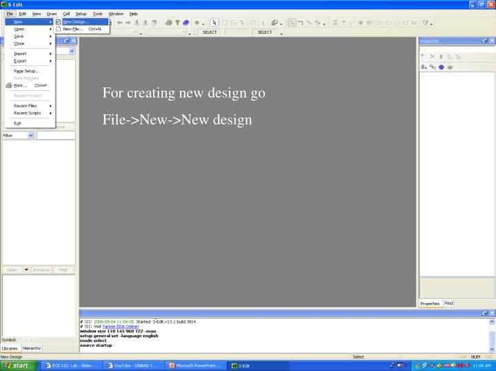 For creating new design go