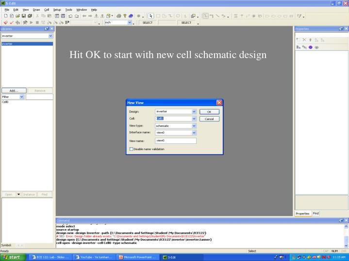 Hit OK to start with new cell schematic design