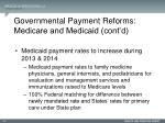 governmental payment reforms medicare and medicaid cont d1