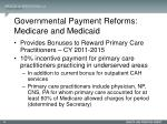 governmental payment reforms medicare and medicaid