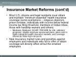 insurance market reforms cont d