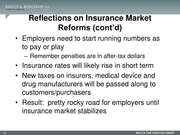 Reflections on Insurance Market Reforms (cont'd)