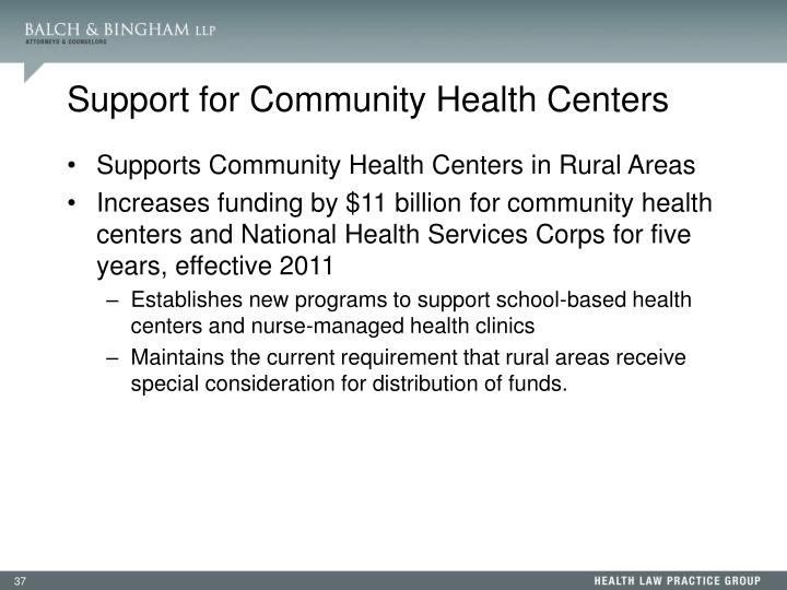 Support for Community Health Centers