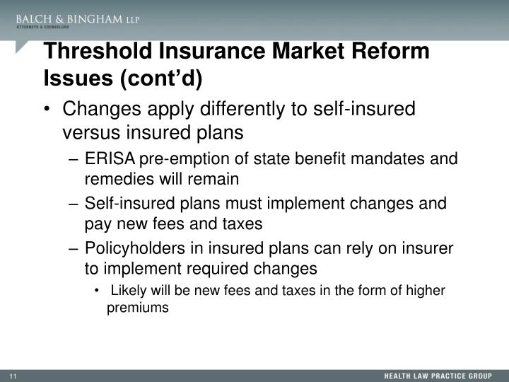 Threshold Insurance Market Reform Issues (cont'd)