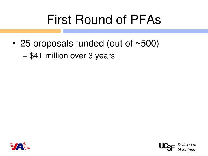 First Round of PFAs
