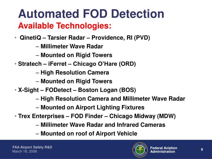 QinetiQ – Tarsier Radar – Providence, RI (PVD)