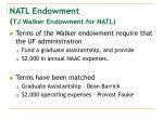 natl endowment tj walker endowment for natl