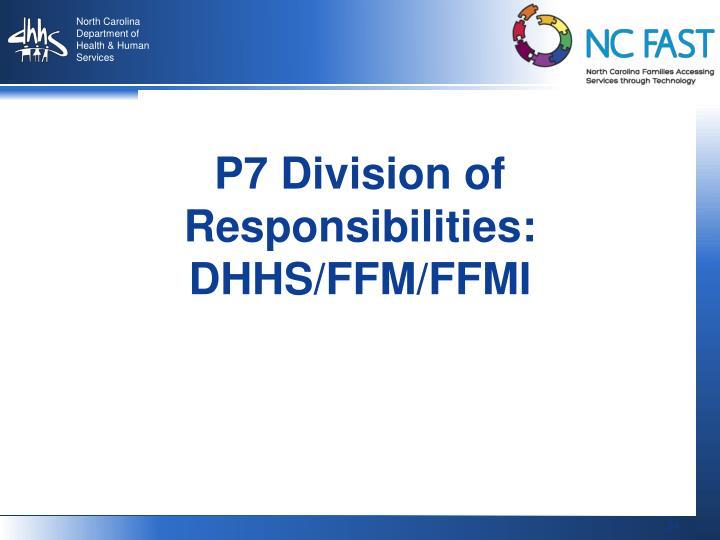 P7 Division of Responsibilities:  DHHS/FFM/FFMI