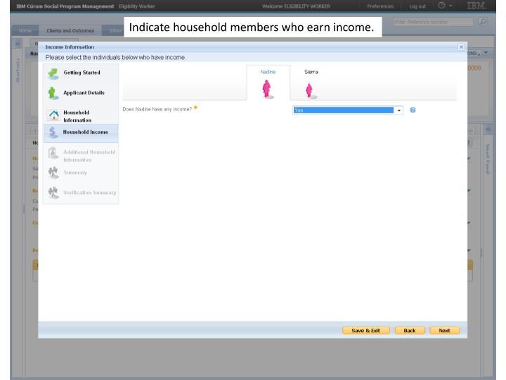 Indicate household members who earn income.
