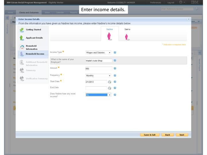 Enter income details.