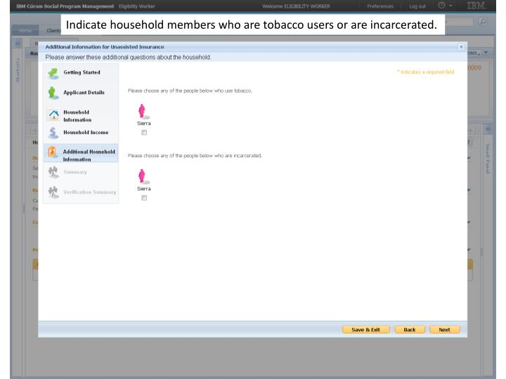 Indicate household members who are tobacco users or are incarcerated.