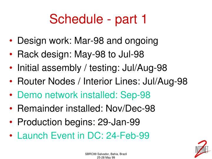 Schedule - part 1