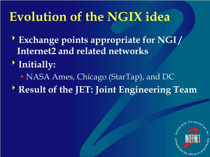 Exchange points appropriate for NGI / Internet2 and related networks
