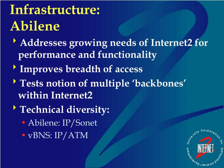 Addresses growing needs of Internet2 for performance and functionality