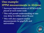 one example ippm measurements in abilene