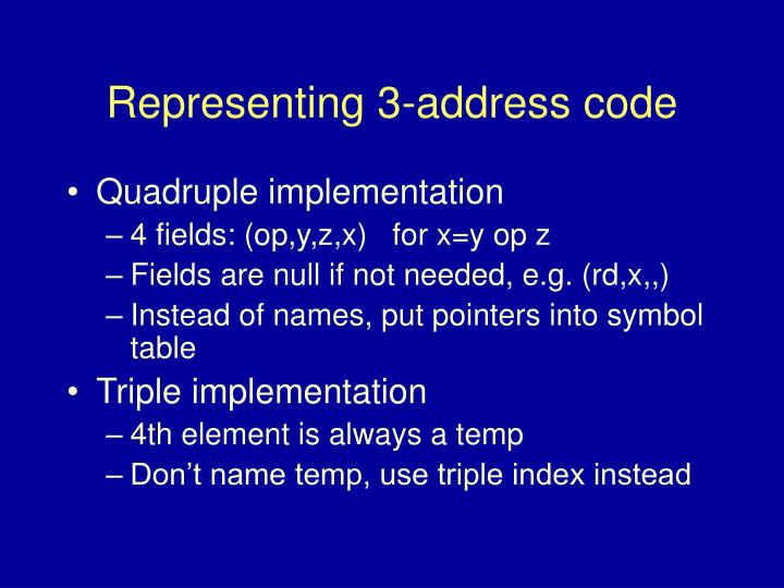 Representing 3-address code