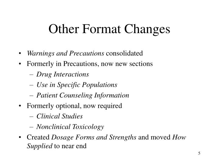 Other Format Changes