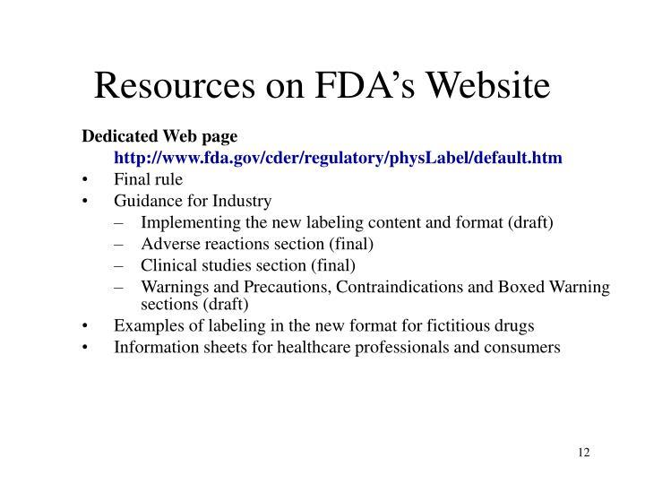 Resources on FDA's Website