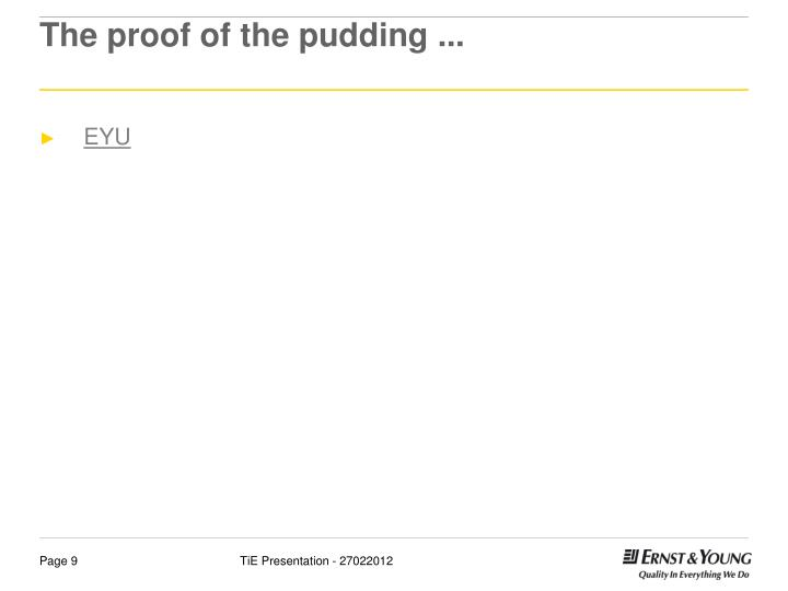 The proof of the pudding ...