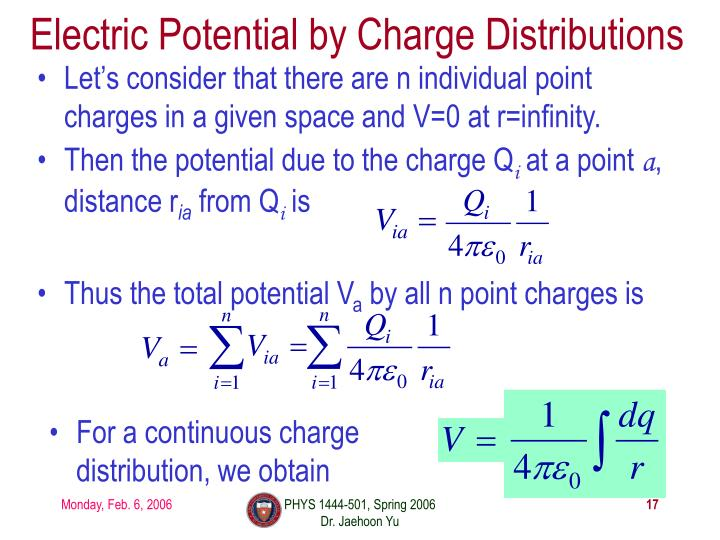 Electric Potential by Charge Distributions