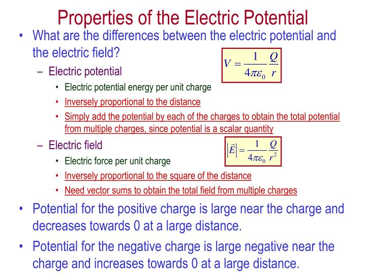 What are the differences between the electric potential and the electric field?
