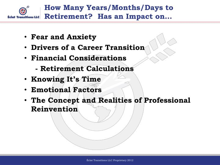 How many years months days to retirement has an impact on