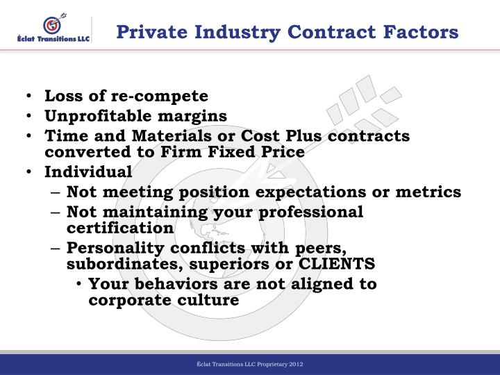 Private Industry Contract Factors