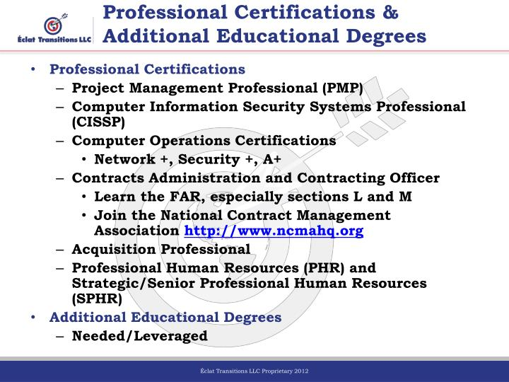 Professional Certifications &