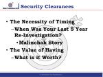 security clearances