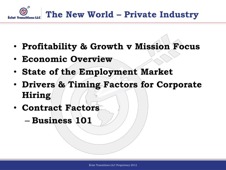 The New World – Private Industry